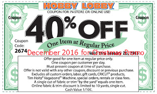 Hobby Lobby coupons for december 2016