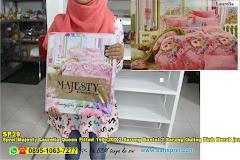Sprei Majesty Laurelia Queen Fitted 160×200 2 Sarung Bantal 2 Sarung Guling Pink Merah Jambu Bunga Dewasa Katun Twill