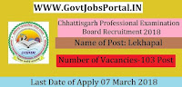 Chhattisgarh Professional Examination Board Recruitment 2018– 103 Lekhapal