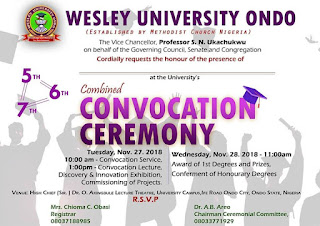 Wesley University 5th - 7th Combined Convocation Ceremony Dates - 2018