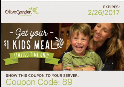 Arizona families olive garden coupon for 1 kids meal nationwide for Olive garden coupons april 2017