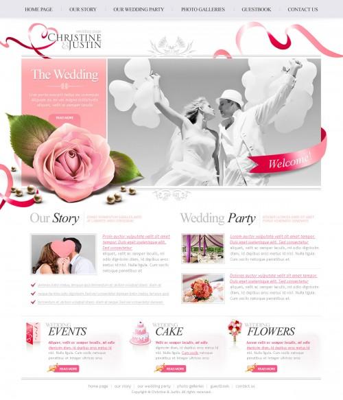plantilla psd para una web de una boda