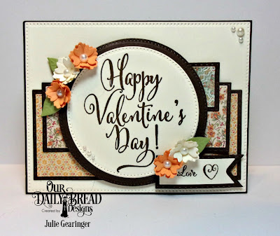Our Daily Bread Designs Stamp Set: Happy Valentine's Day, To My Favorite,Custom Dies:Pierced Rectangles, Pierced Circles, Double Stitched Rectangles, Pennant Flags, Double Stitched Pennant Flags, Bitty Blossoms, Paper Collection: Cozy Quilt