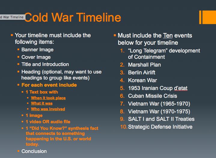 Thiemann's APUSH: Feb 23 - Cold War Timeline (Day 1)