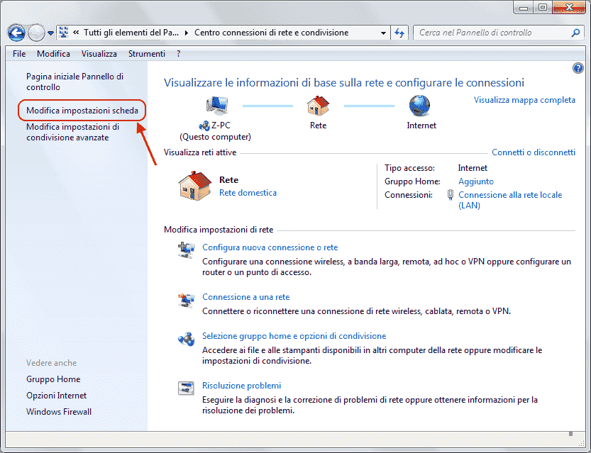 Windows 7 - Impostazioni scheda di rete