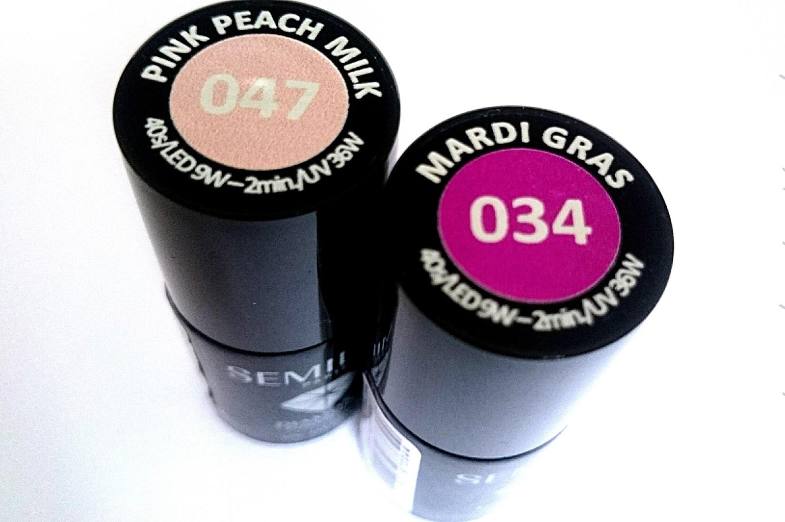 Ombre na paznokciach - Mardi gras i Pink peach milk