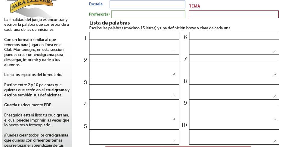 AYUDA PARA MAESTROS: Generador de crucigramas en PDF gratuito