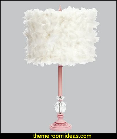 Pink Glass Ball Lamp with White Feather Drum Shade  faux fur home decor - fuzzy furry decorations - Flokati - mink - plush - shaggy - faux flokati upholstery - super soft plush bedding - sheepskin - Mongolian lamb faux fur - Faux Fur Throw - faux fur bedding - faux fur blankets - faux fur pillows - faux fur decorating ideas - faux fur bedroom decor - fur decorations - fluffy bedding - feathery lamps