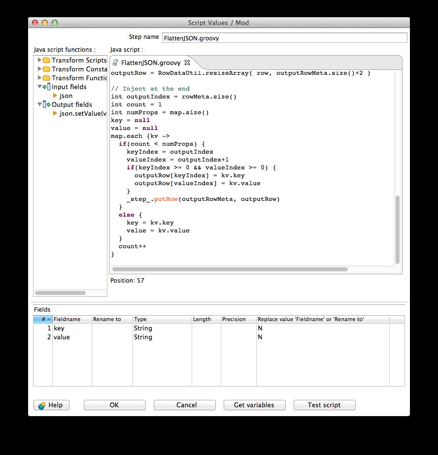 Fun with Pentaho Data Integration: Flatten JSON to key-value
