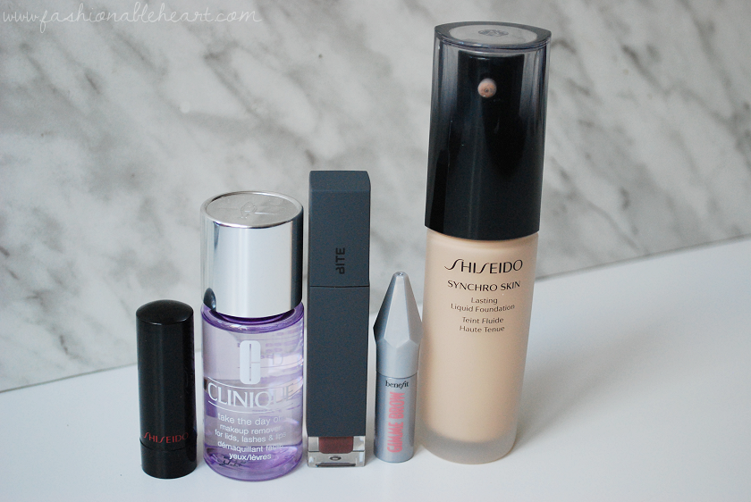 bbloggers, bbloggersca, canadian beauty bloggers, beauty blog, october, autumn, favorites, shiseido, rouge rouge, ruby copper, clinique, take the day off, bite beauty, amuse bouche, liquified lipstick, demi-glace, benefit, gimme brow, shiseido lasting liquid, foundation, neutral 2, dry skin, red lipstick, product review