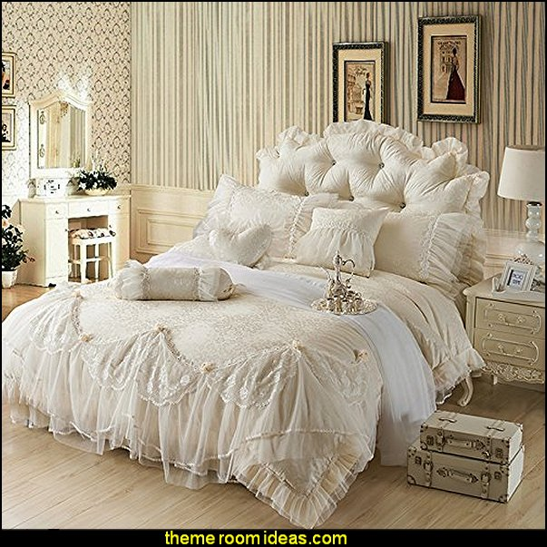 ,Romantic bedding   Victorian Decorating ideas - Vintage decorating - Victorian Boudoir - Romantic Victorian Bedroom Decor - lace and ruffles bedding - floral bedding - victorian bedroom photos - Vintage decor - vintage themed bedroom for a girl