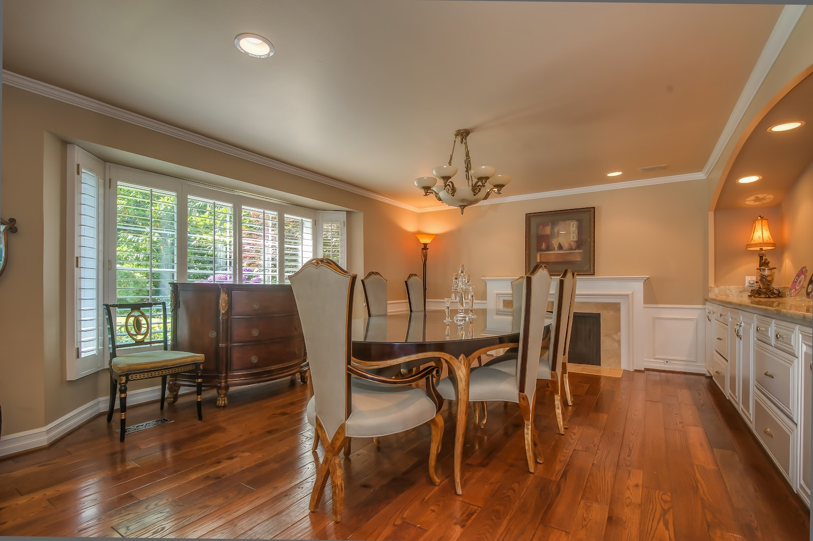 mercer island views dining room with fireplace and built in hutch. Black Bedroom Furniture Sets. Home Design Ideas