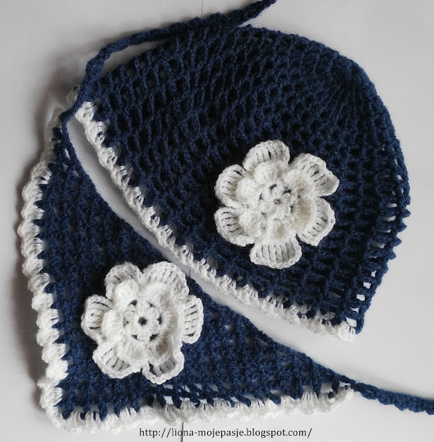 Komplet szydełkowy - czapka z chustką dla maluszka.