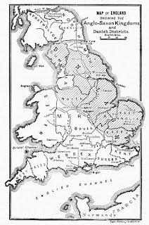 Map of England showing the Anglo-Saxon kingdoms and Danish districts - from Cassell's History of England, Vol. I