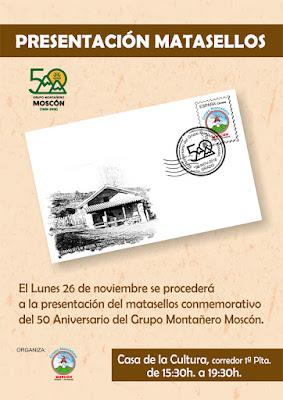 Cartel del matasellos del 50 aniversario del Grupo de Montaña Moscón