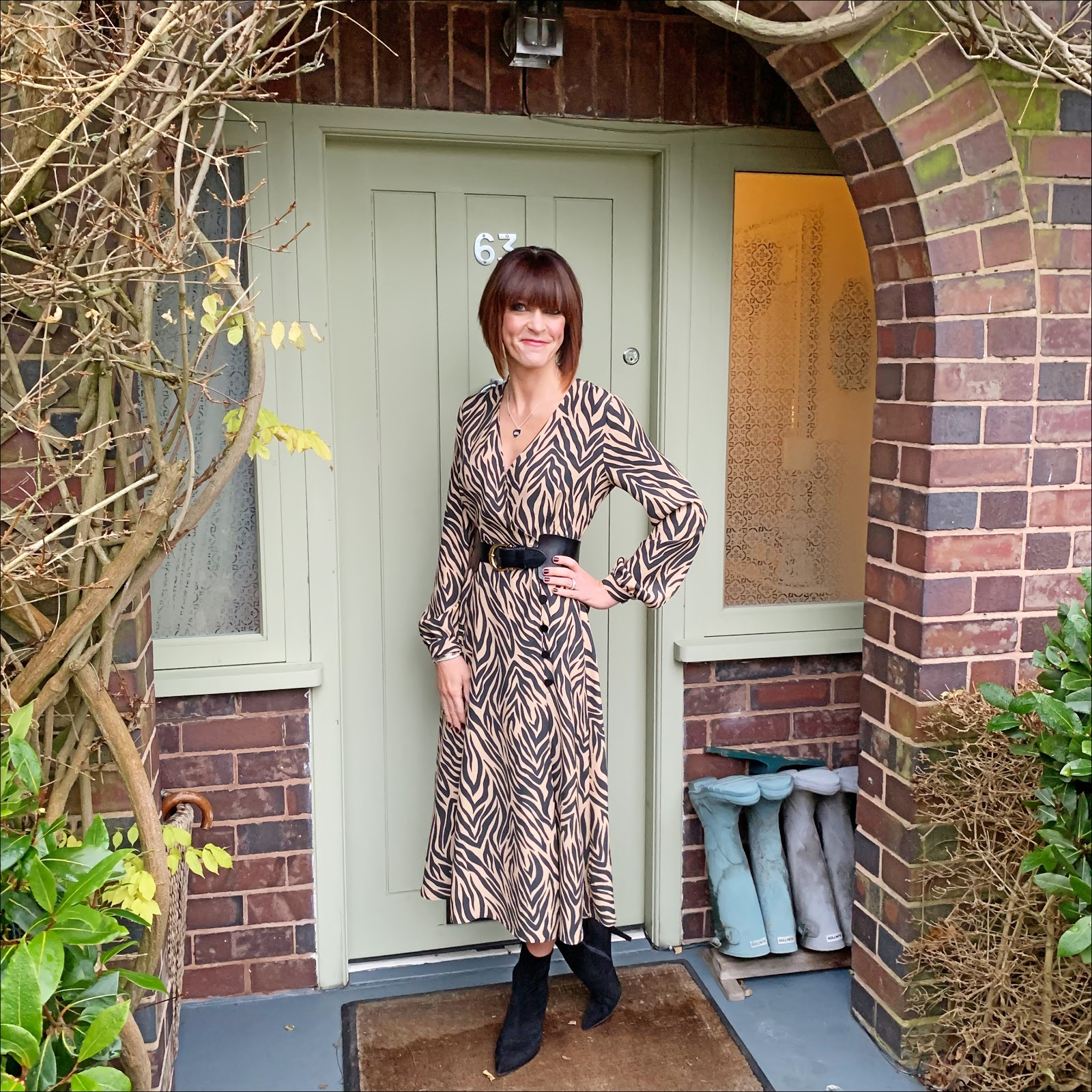 my midlife fashion, marks and spencer animal print long sleeve wrap midi dress, and other stories waist buckle belt, marks and spencer stiletto heel velvet ankle boots