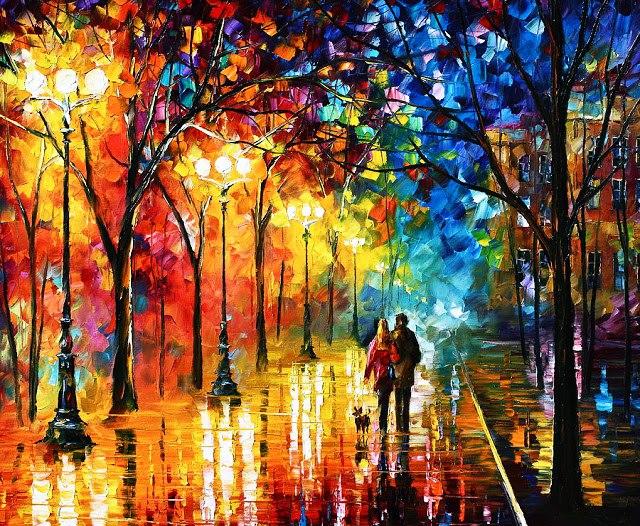 Alegria, paixão e felicidade são muito bem representadas na arte de Leonid Afremov.