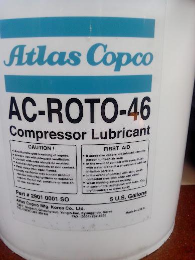nhãn mác của dầu máy nén khí atlas Copco AC ROTO 46