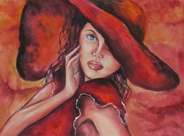 tablou fata palarie rosie
