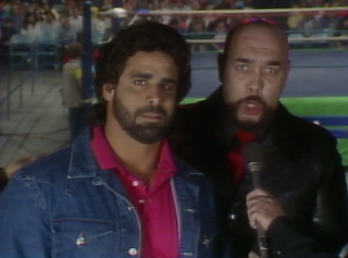 NWA CLASH OF THE CHAMPIONS 1 - 1988: Al Perez and his manager, Gary Hart, cut a promo on the show