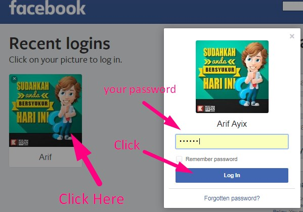 how to log into facebook with your profile picture