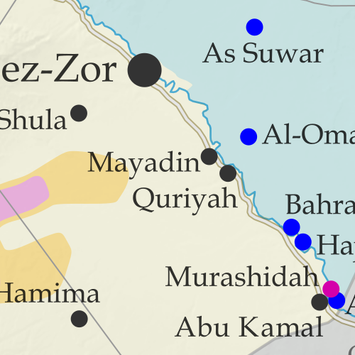 Map of Syrian Civil War (Syria control map): Territorial control in Syria in January 2019, when IS control has been reduced to only one village and some areas of desert (Free Syrian Army rebels, Kurdish YPG, Syrian Democratic Forces (SDF), Hayat Tahrir al-Sham (HTS / Al-Nusra Front), Islamic State (ISIS/ISIL), and others). Includes US deconfliction zone and Turkey-Russia demilitarized buffer zone, plus recent locations of conflict and territorial control changes, such as Baghuz, Murashidah, Saraqeb, Arima, and more. Colorblind accessible.