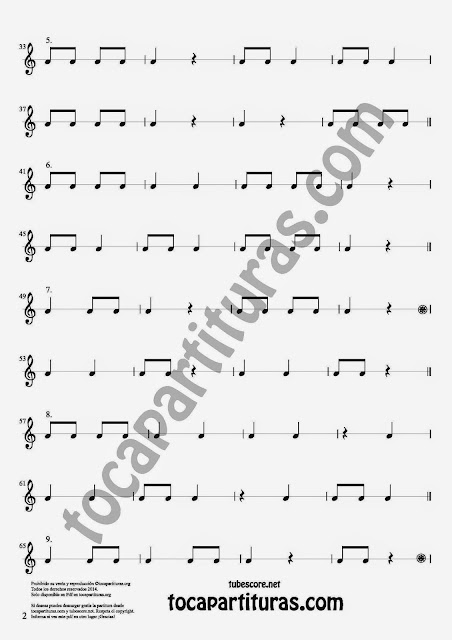 2 27 Ejercicios Rítmicos para Aprender Solfeo en el Compás de 2/4 Aprender negras, corcheas, blancas y sus silencios. Easy Rithm Sheet Music for quarter notes, half notes, 1/8 notes and silences