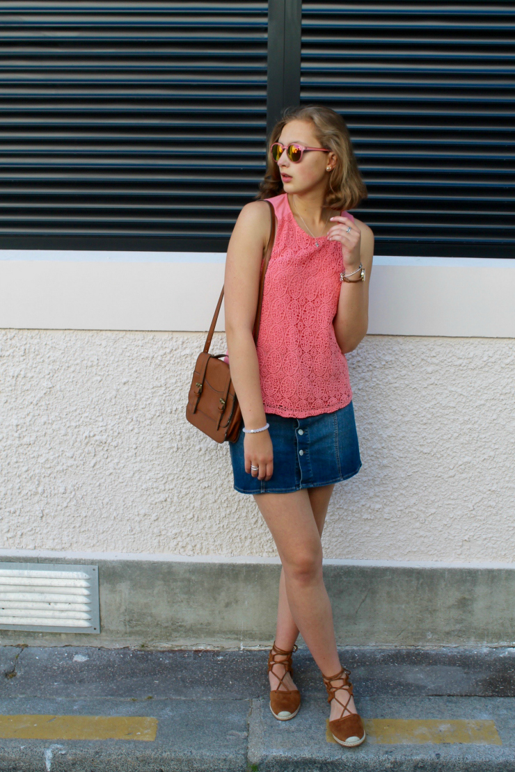 suede lace up espadrilles and denim mini skirt