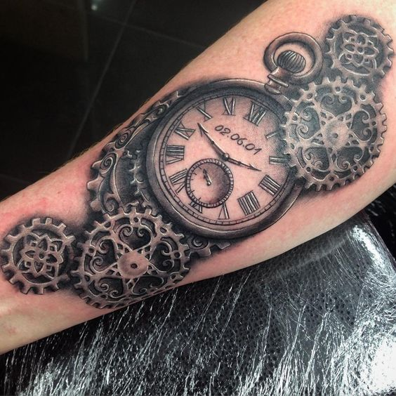 amazing steampunk clock tattoos