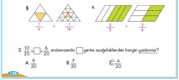 3. Sınıf Berkay Yayınları Matematik Çalışma Kitabı 106. Sayfa Cevapları 2. Çalışma Kesirleri Karşılaştırıp Sıralayalım