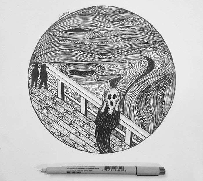 01-The-Scream-by-Edvard-Munch-Poonam-Saha-Zentangle-Old-Masters-and-Works-of-Art-Drawings-www-designstack-co