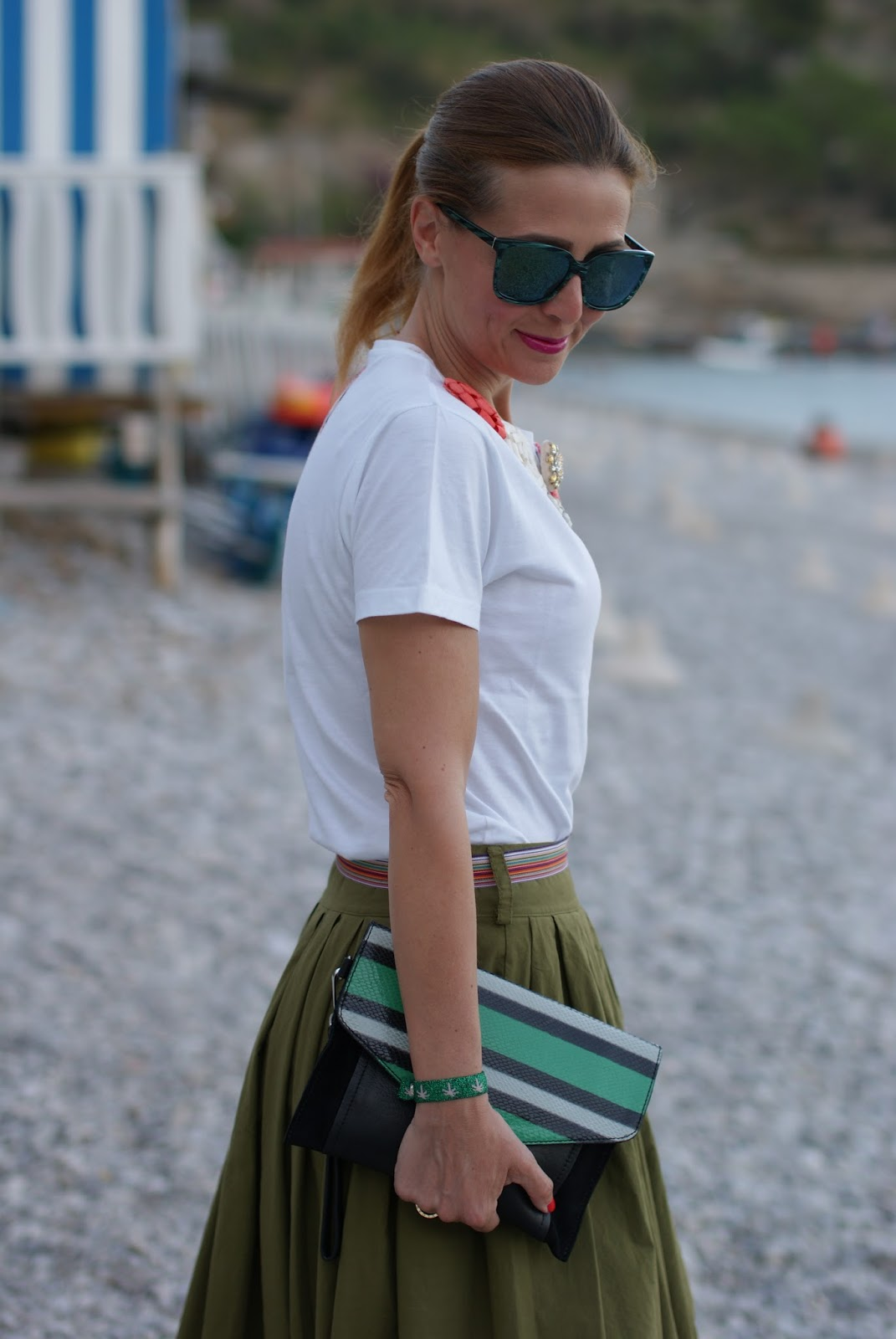 striped clutch and Hype Glass sunglasses on Fashion and Cookies fashion blog, fashion blogger style