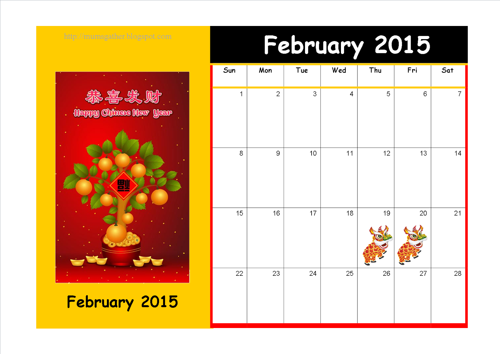 Free Printable February 2015 Calendar With Chinese New Year Theme