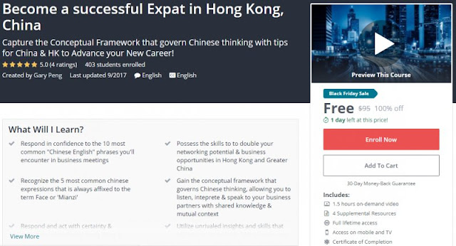 [100% Off] Become a successful Expat in Hong Kong, China| Worth 95$