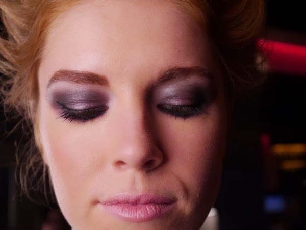 A close-up of the smoldering eyes and bold brows that Cover Girl makeup pro Amelie Ducharme did for the Rockin' Romance look