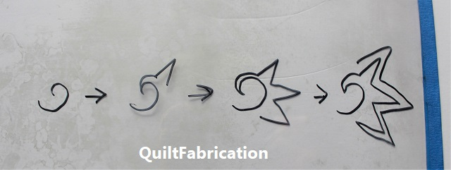 the four steps drawn out to make the Dragon Fruit quilt fill