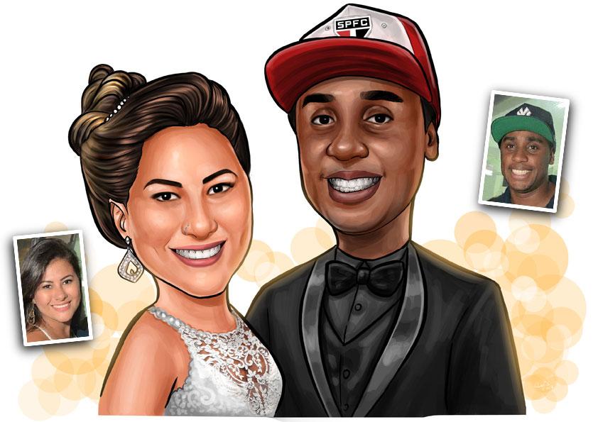 caricatura para casamento noivos convite lembrancinhas