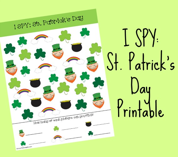 Festive St. Patrick's Day I SPY printable for your kiddos!
