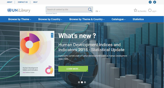 Screen shot of UN iLibrary front page