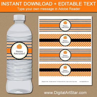 pumpkin water bottle labels - Halloween party printables