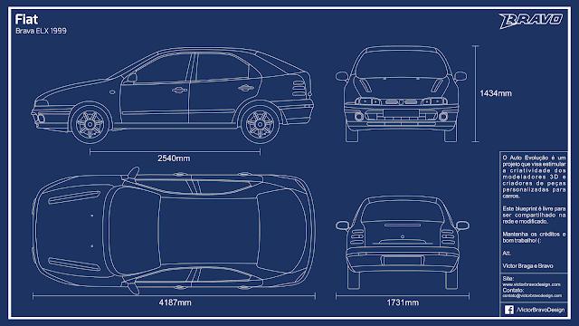 Imagem do blueprint do Fiat Brava ELX 1999