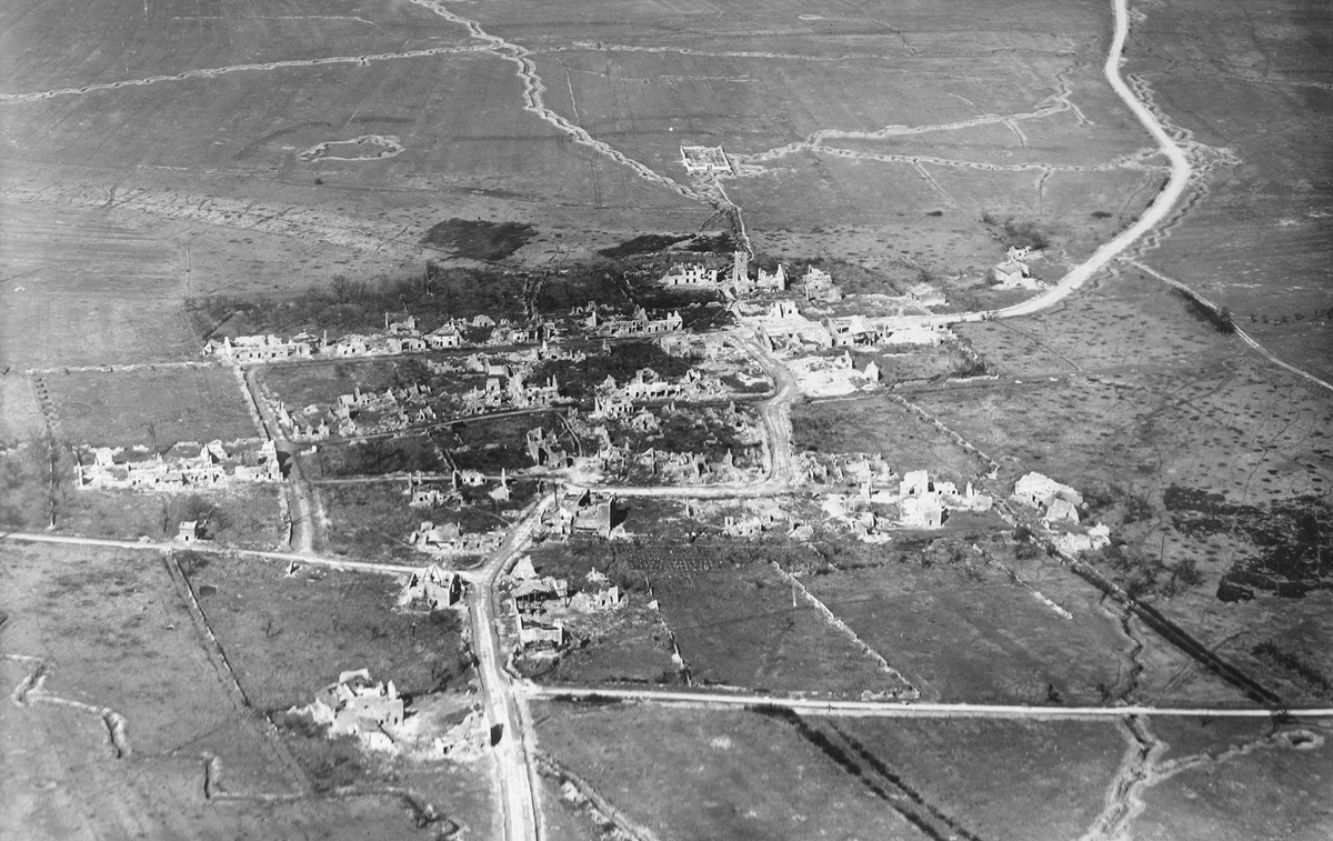 French ruins. Original caption: Aerial view of Seicheprey, France.