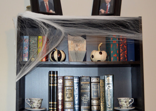 Halloween Decor, Black and White Pumpkins, Bookshelf Holiday Decor