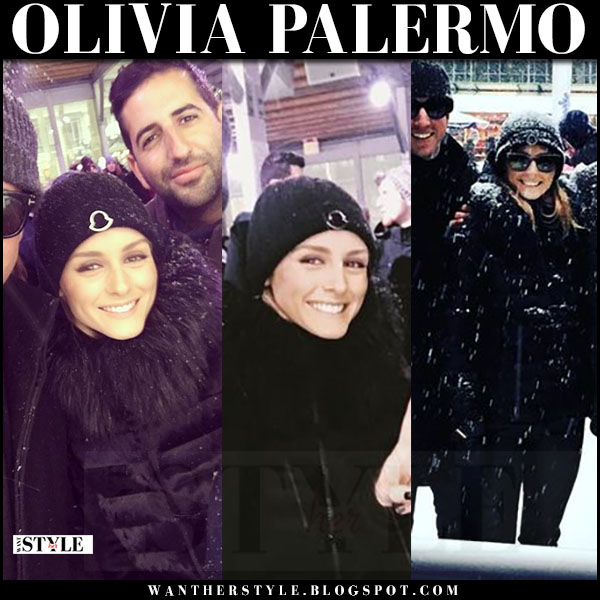 Olivia Palermo in beanie hat and fur collar puffer jacket moncler what she wore winter style