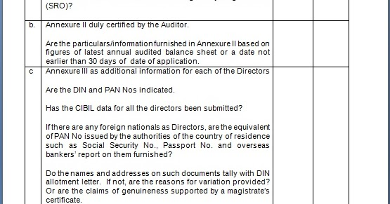checklist for nbfc compliances  u0026 audit for existing companies registration in word format
