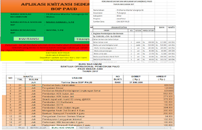 Update Format Laporan BOP PAUD Taman Kanak-kanak dan Kwitansi cetak Otomatis Excel