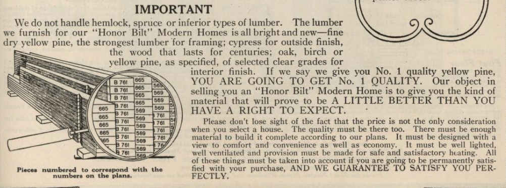 marked lumber by Sears on kit houses