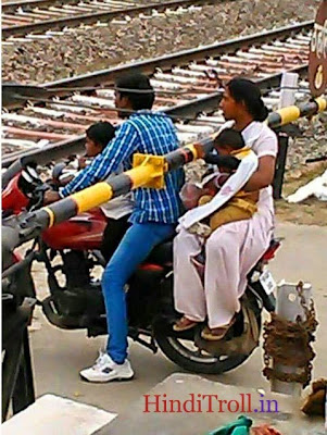 Husband Wife Funny On Motocycle |