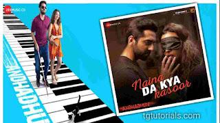 This is an image of Ayushmaan Khurrana and Radhika Apte for Naina Da Kya Kasoor Guitar Chords