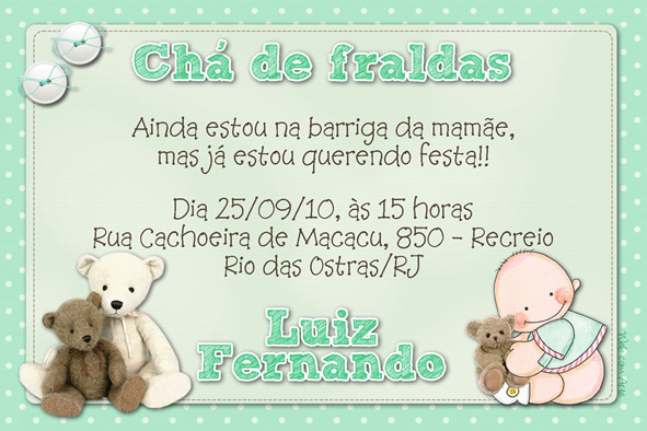 Mensagem De Convite De Cha De Fralda: Fabrica De Sonhos E Arte: Agosto 2011